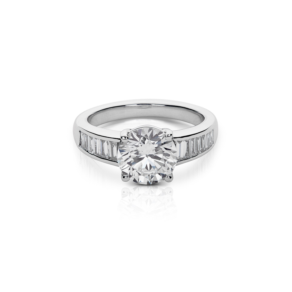 Emerald Cut Channel Set Diamond Engagement Ring