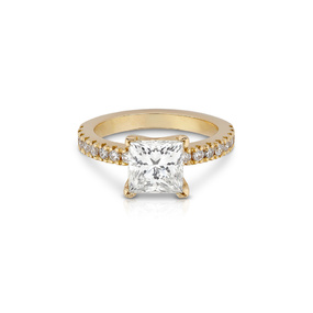 Princess Cut Diamond Pavé Engagement Ring