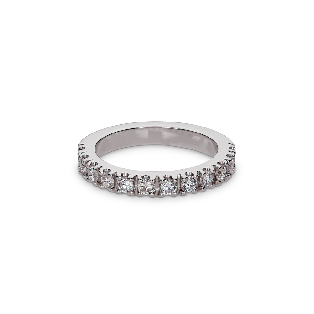 Pave Set Round Diamond Engagement Ring 0.60cts