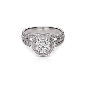 Triple-Shank Halo Diamond Engagement Ring