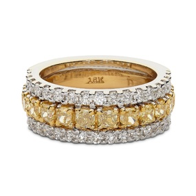 Cushion Cut Canary Diamond Wedding Band