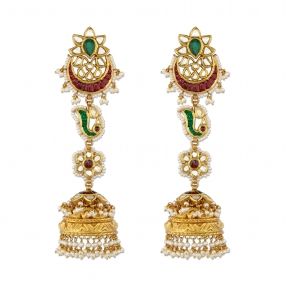 Ruby Crescent Floral Jhumka Earrings