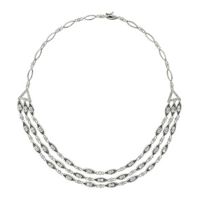 Flowing Diamond White Gold Necklace