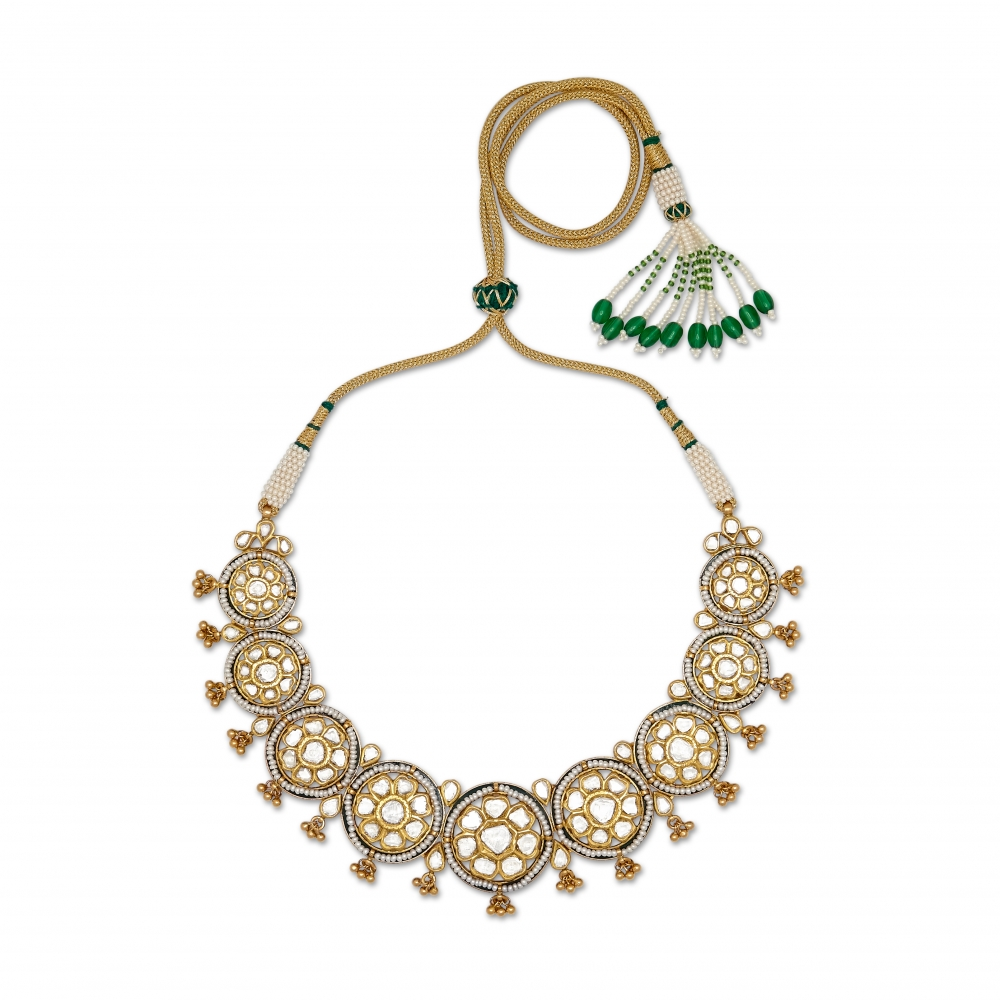Round Meenakari Polki Diamond Necklace Set