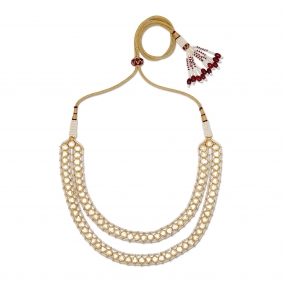 Double Drop Chain Polki Diamond Necklace