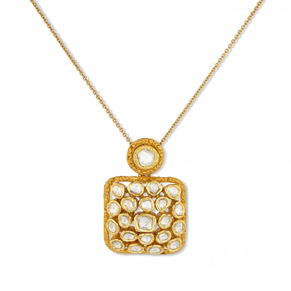 Square Polki Diamond Collection Necklace Set