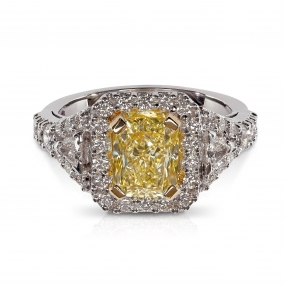 Halo 3-Stone Fancy Yellow Diamond Engagement Ring