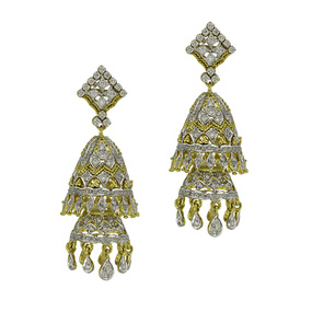 2 Tier Diamond Gold Jhumka