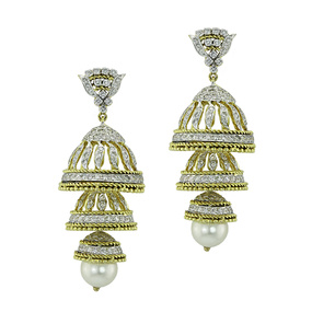 3 Tier Diamond & Pearl Gold Jhumka