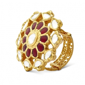 Crowned Ruby Floral Ring