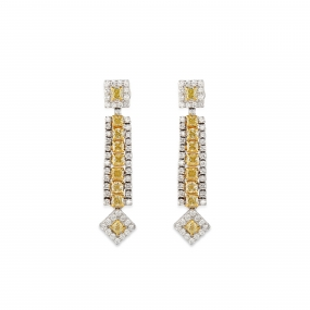Canary Yellow Diamond Strand Earrings