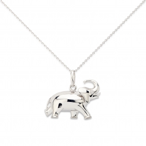 18k White Gold Elephant Pendant