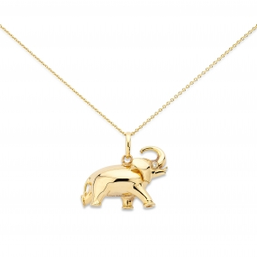 18k Yellow Gold Elephant Pendant