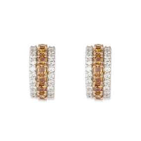 Cognac Diamond Crescent Earrings