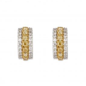 Cushion Canary Yellow Diamond Earrings