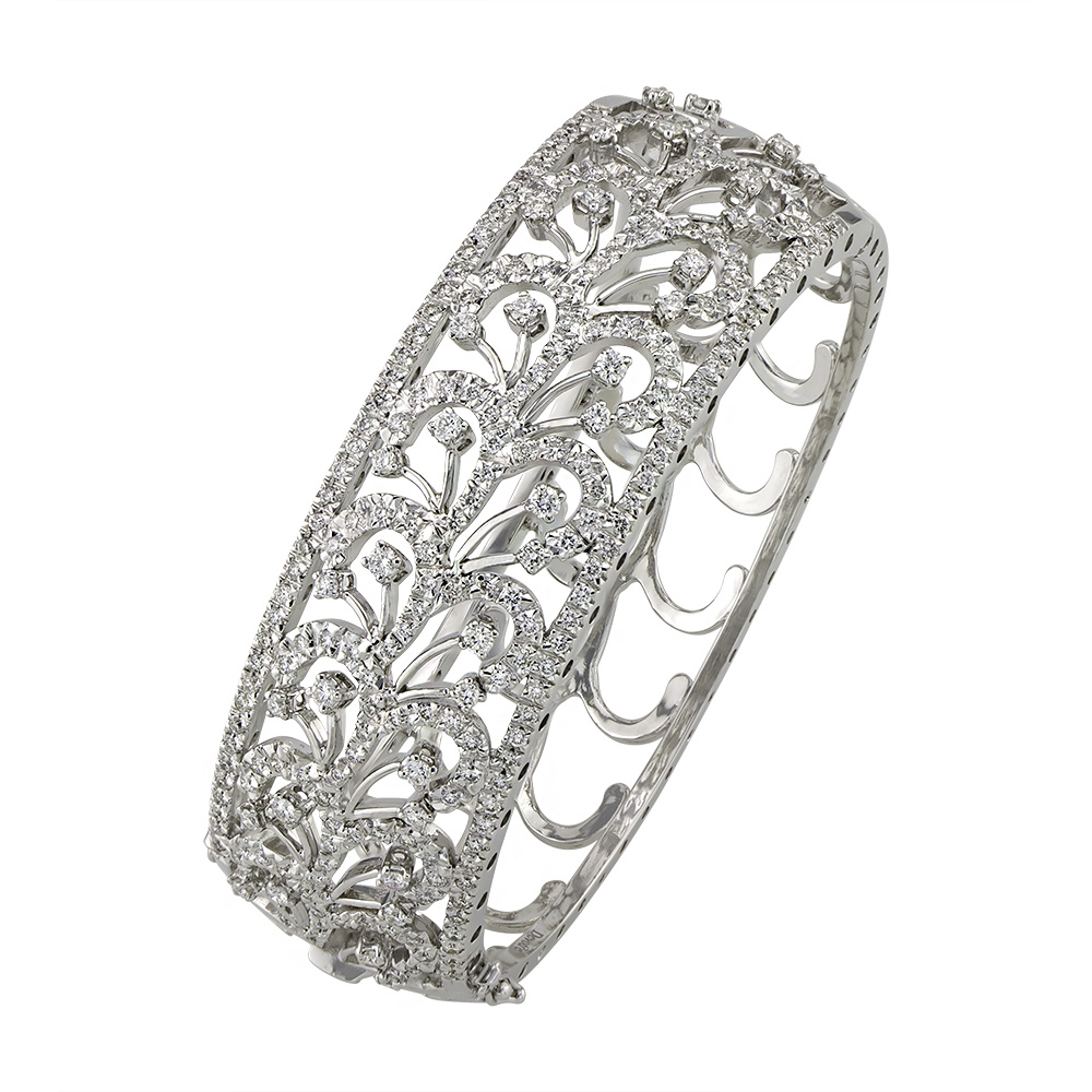 Victorian Leaf Diamond White Gold Bangle Bracelet