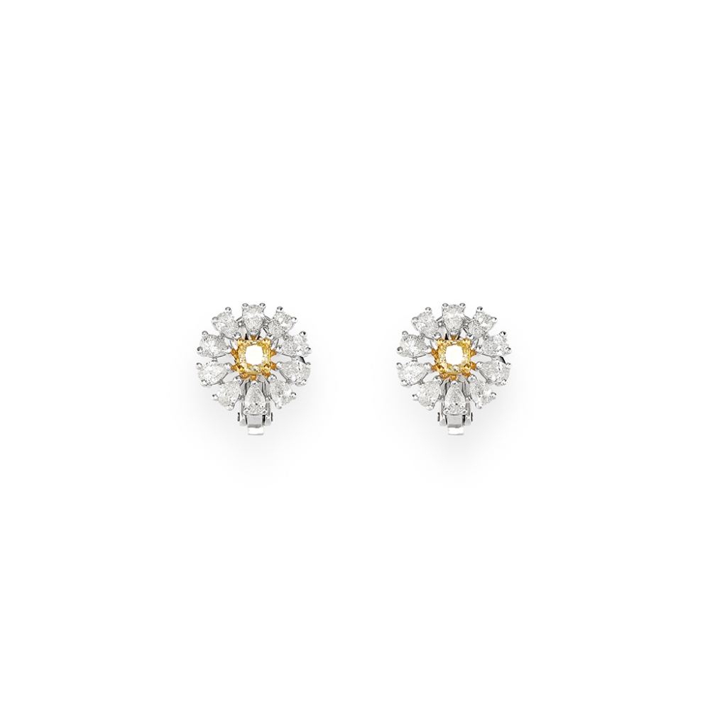 diamond stud earrings white in gold yang canary yin