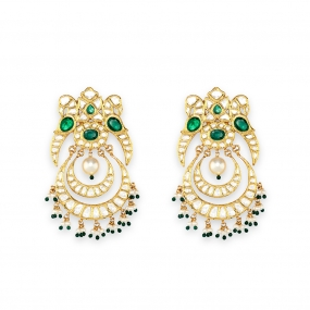 Poised Emerald Peacock Chandbali Earrings