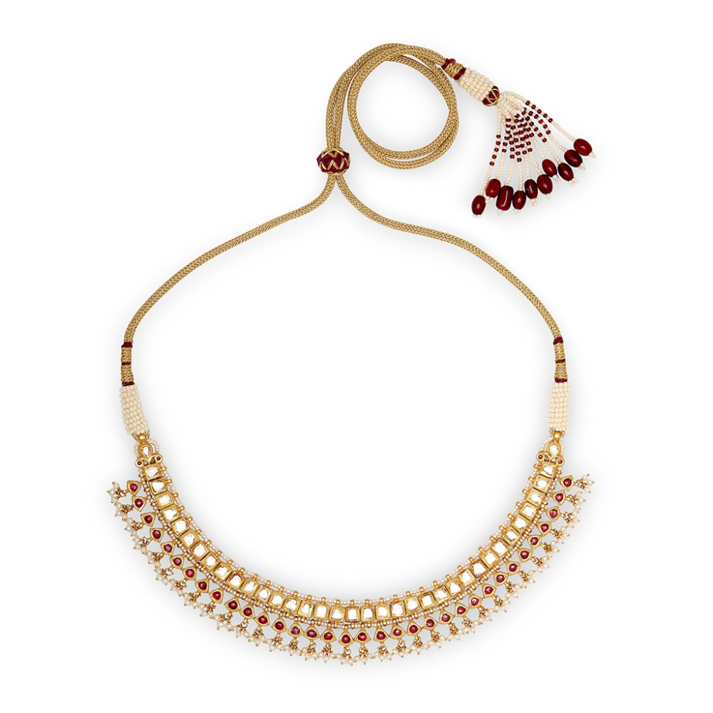 Traditional Ruby & Polki Diamond Necklace Set