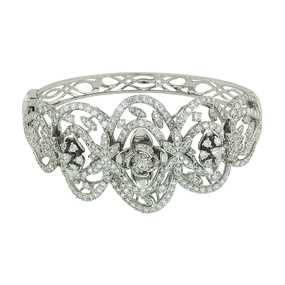 Arches of Roses Diamond White Gold Bangle