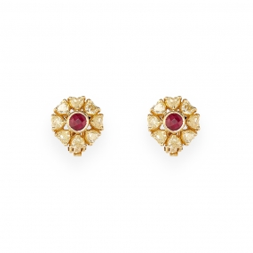 Canaray Yellow & Ruby Stud Floral Earrings
