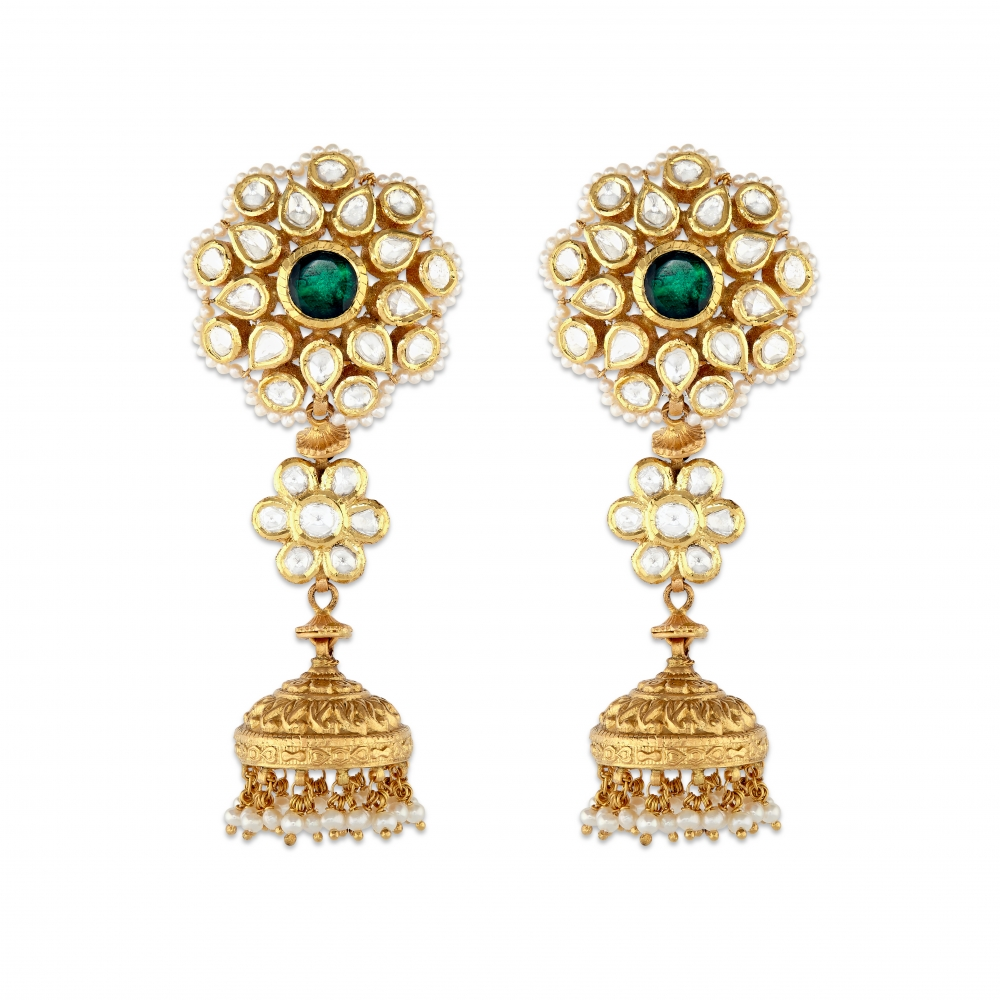 Desert Flower Jhumka Earrings