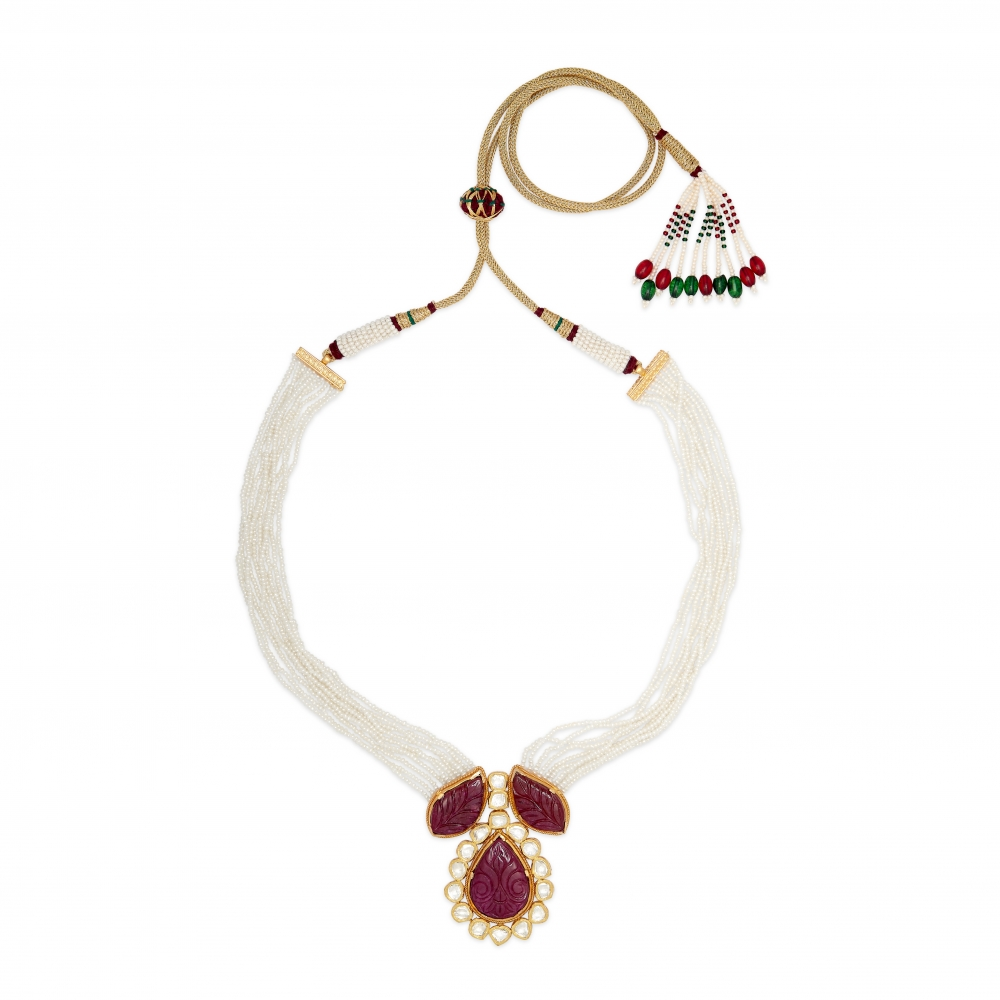 Traditional Hand-Carved Floral Ruby Necklace Set