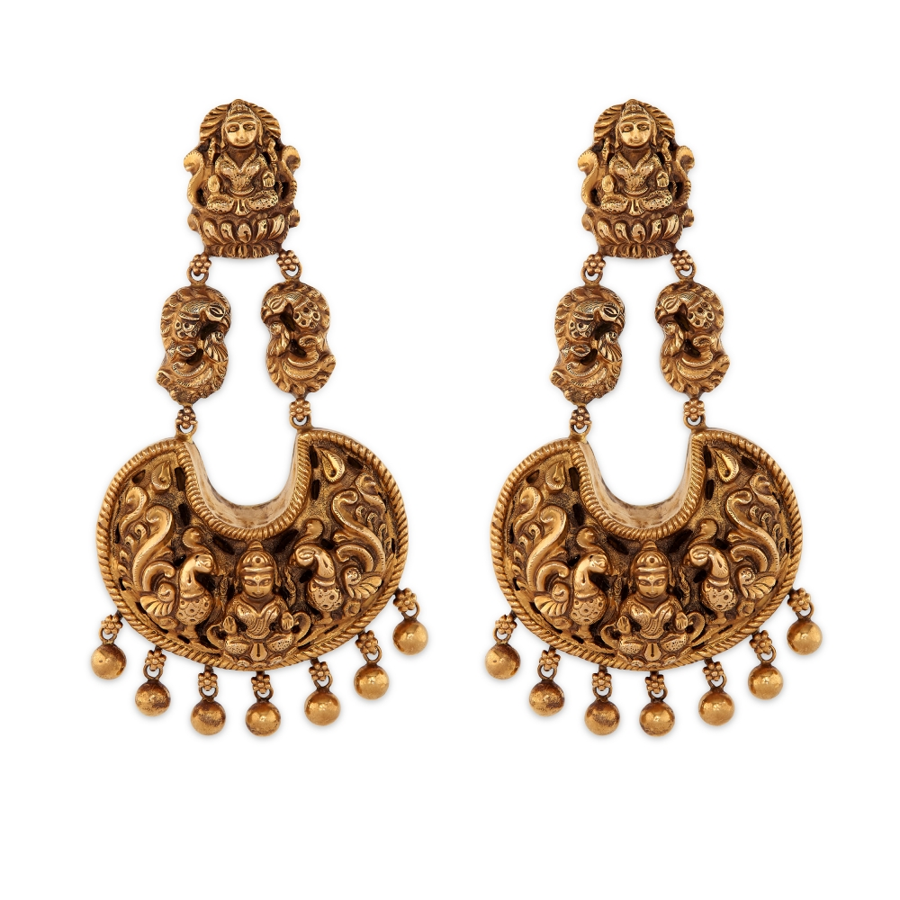 Temple Style Chandbali Dangle Earrings