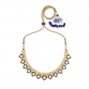 Golden Meenakari Diamond Choker Necklace Set