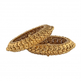 Interwoven Golden Peacock Motif Bangle Bracelet