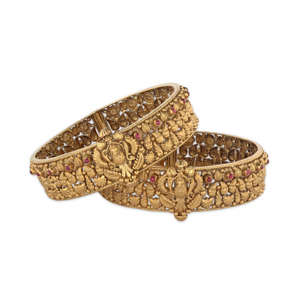 Golden Ruby Peacock 22kt Bangle Bracelet