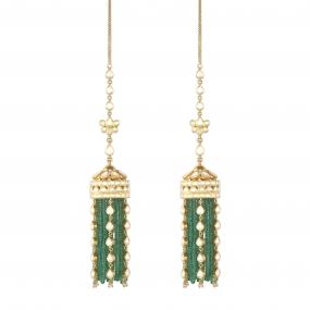 Emerald Dangle Palace Jhumka Earrings