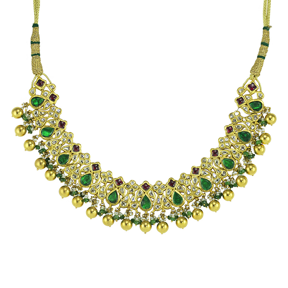 Dancing Emerald Indian Necklace Set