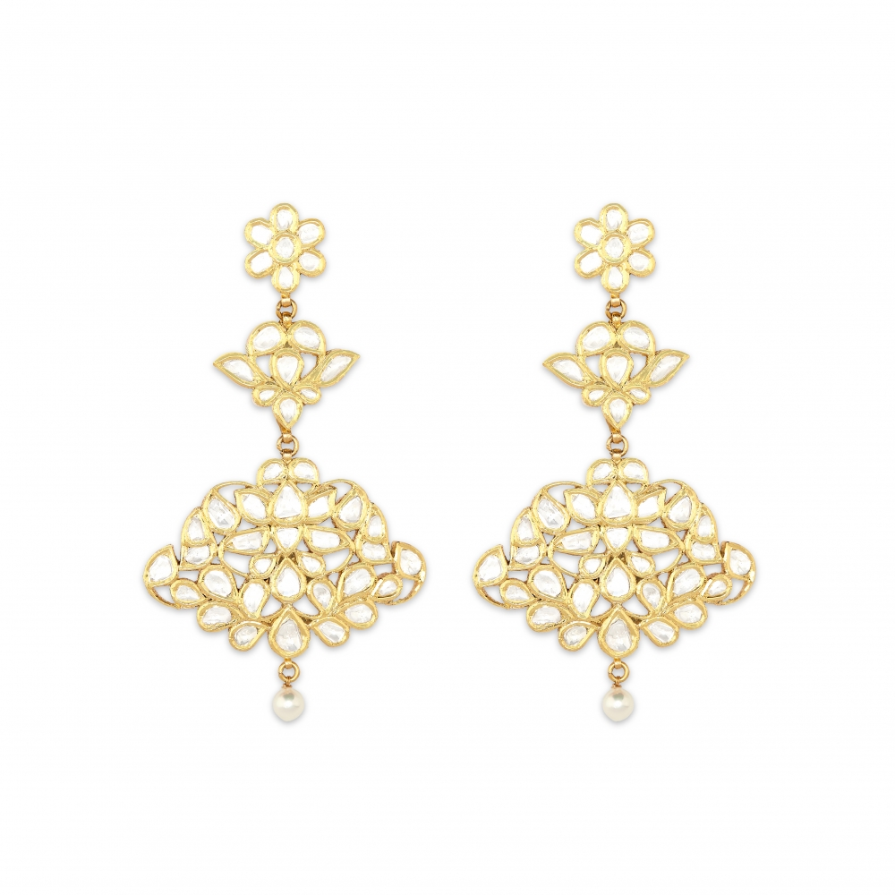 Floral Fountain 22k Yellow Gold Earrings