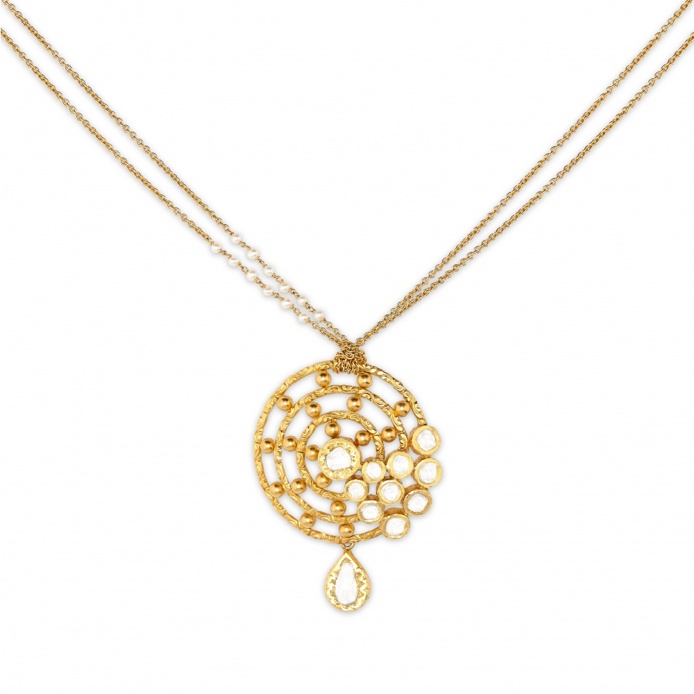 22k Yellow Gold Celestial Diamond Pendant Necklace Set