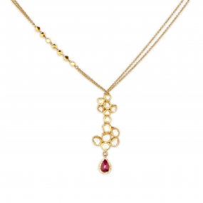 22k Golden Ruby And Diamond Blossoms Necklace Set