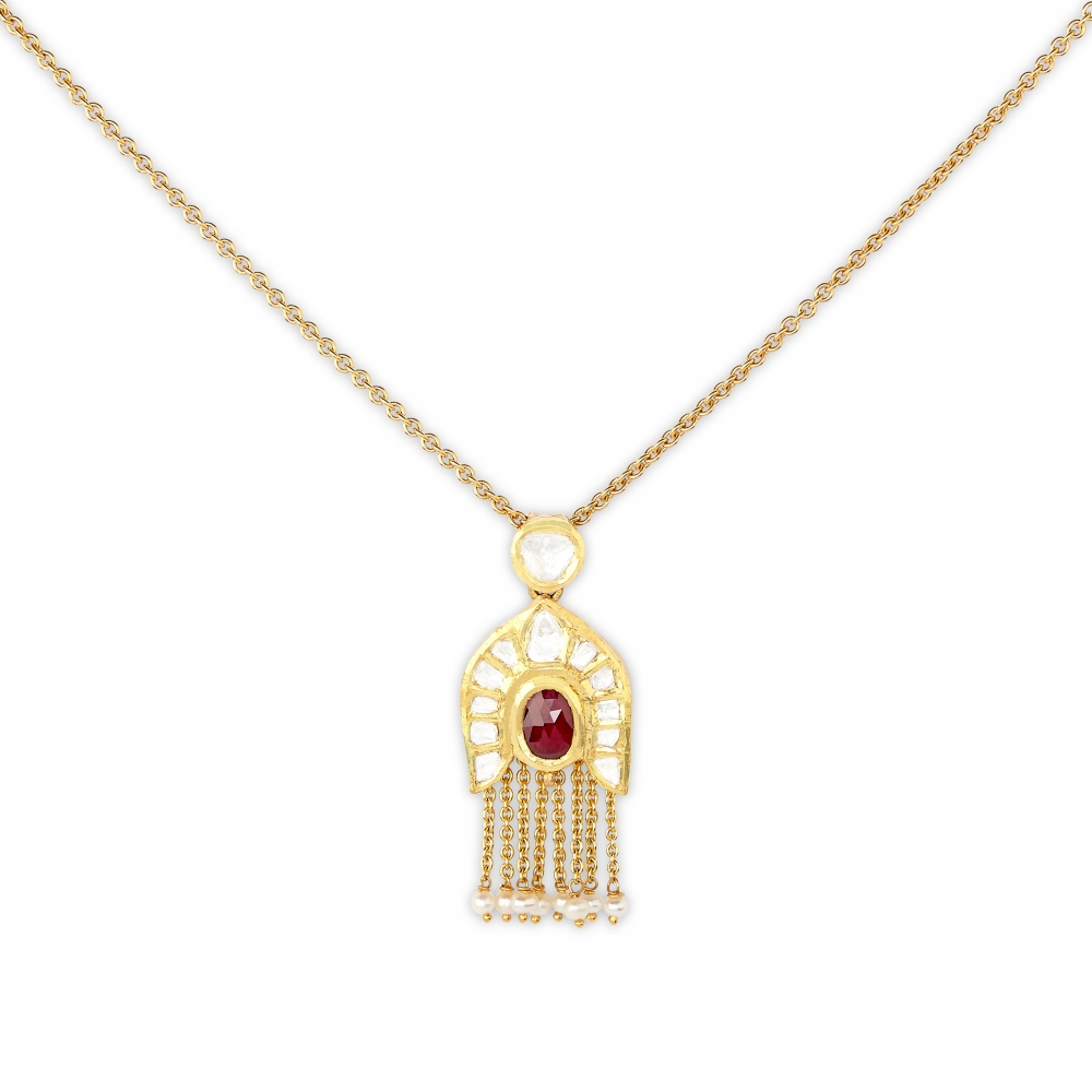 Petite Ruby Pendant Gold Strand Necklace Set