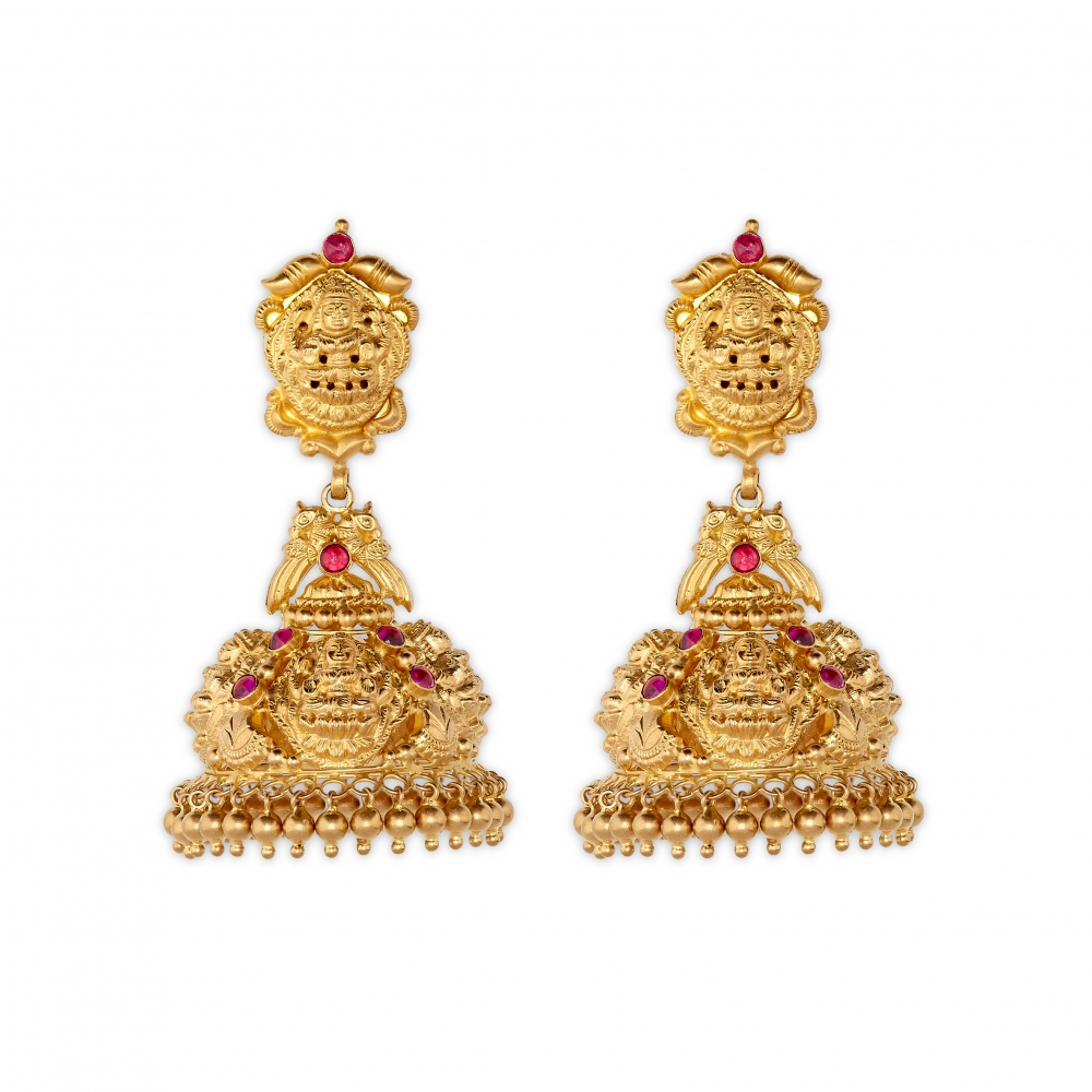 22k Yellow Gold Ruby Temple Jhumki Earrings