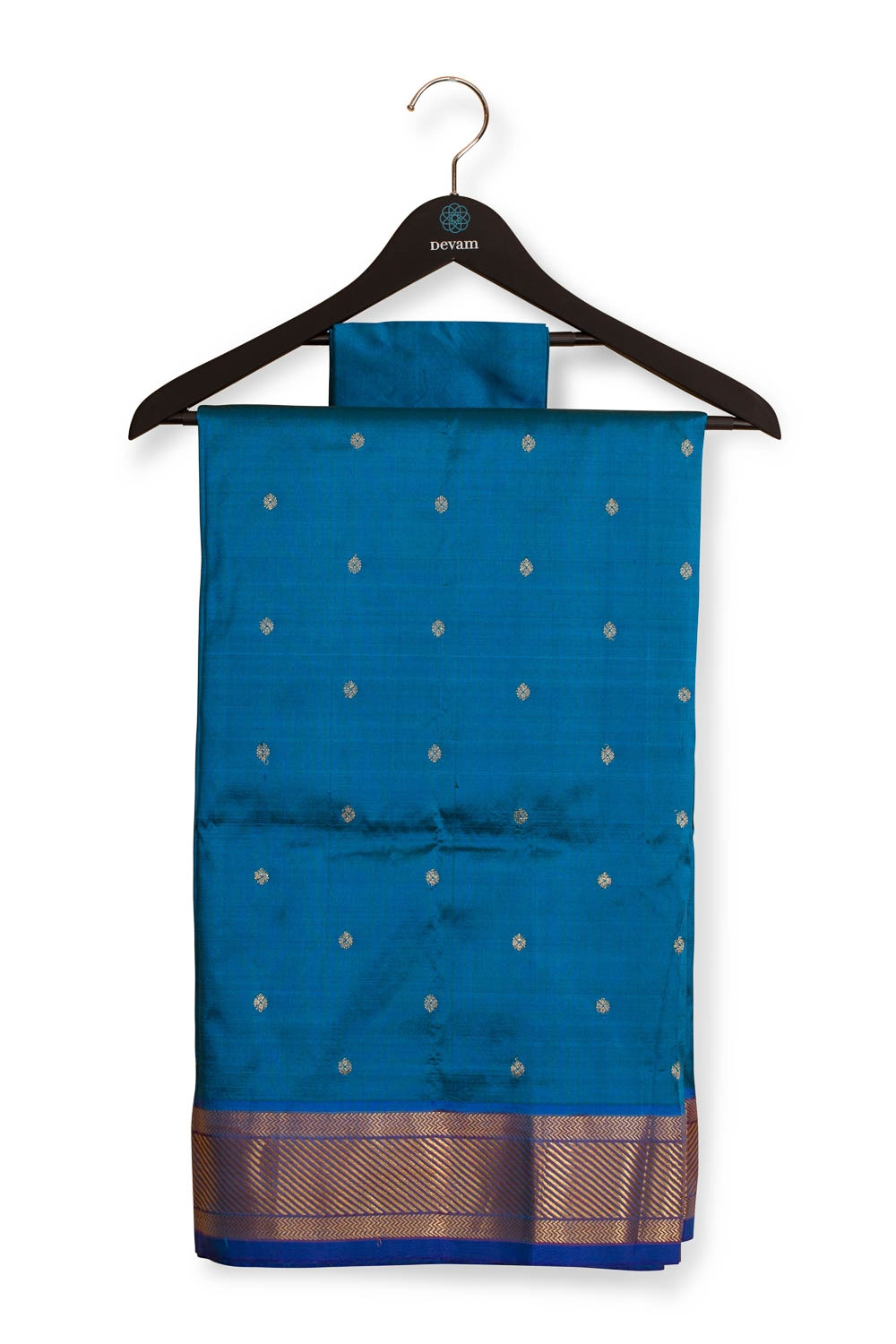 Vivid Blue Handloom Paithani With Gold Floral Designs