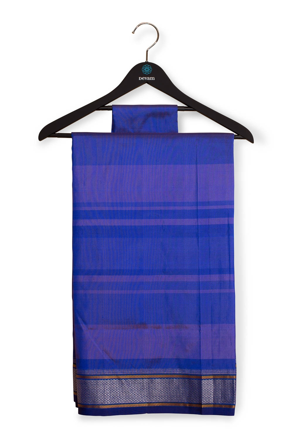 Exclusive Striped Handloom Purple Paithani With Silver Jari