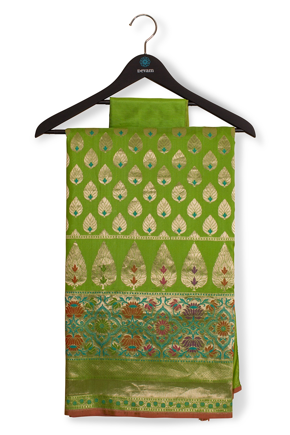 Light Green Banarasi With Lotus Accents