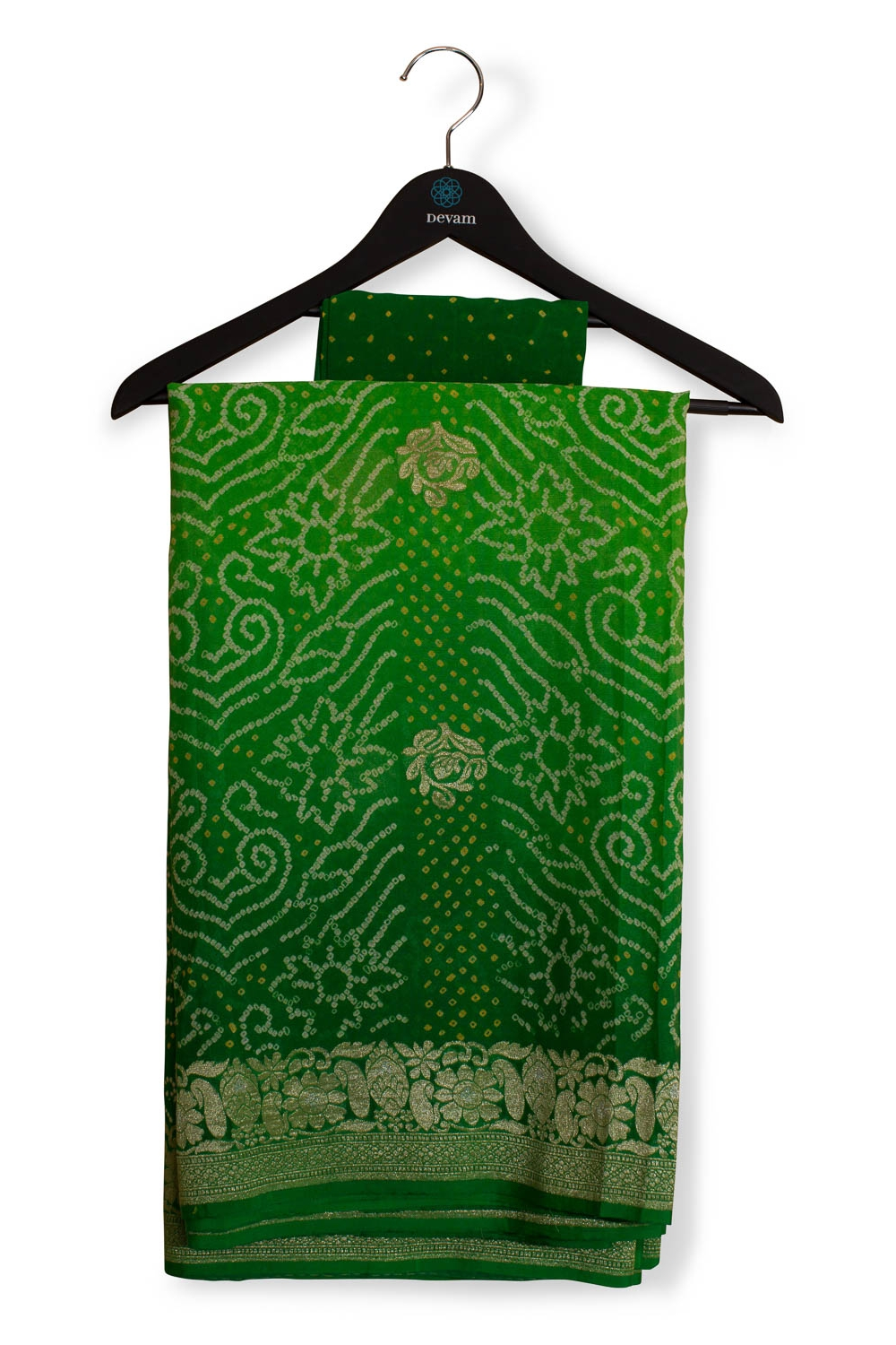 Shaded Green Traditional Bandhani And Handloom Georgette Fusion Banarasi