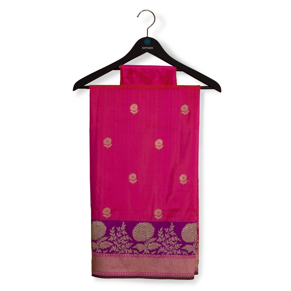 Hot Pink Floral Saree With Purple Accents