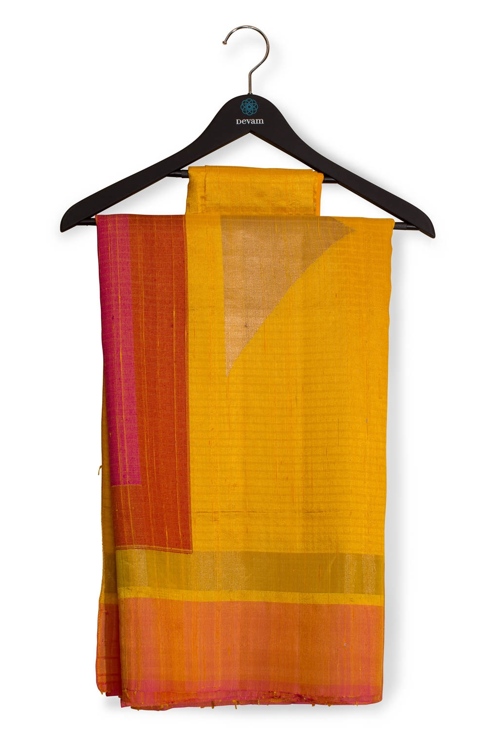 Sunshine Yellow And Pink Dupion Banarasi Saree