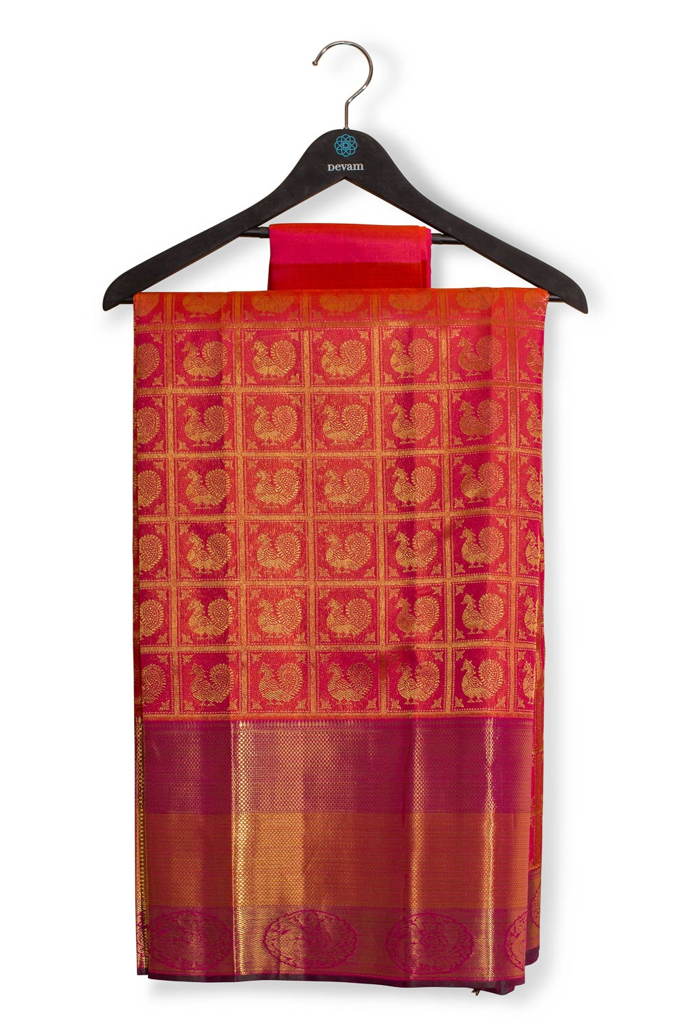Fuchsia Real Jari Silk Kanjeevaram With Mor Pattern