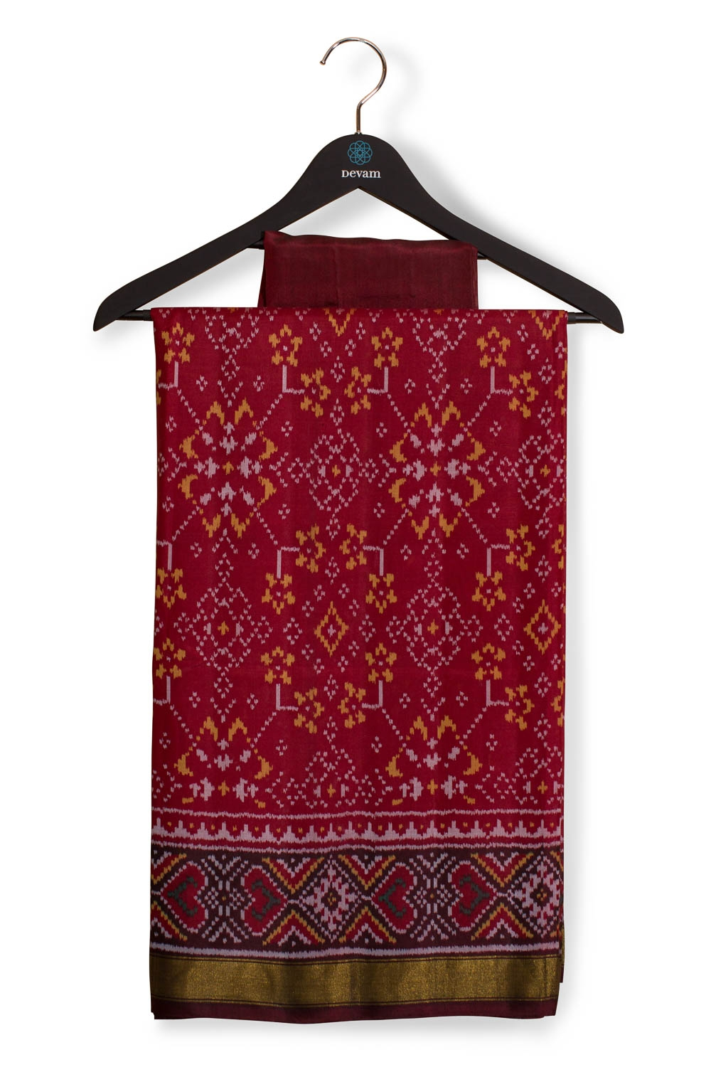 Maroon Traditional Silk Patola