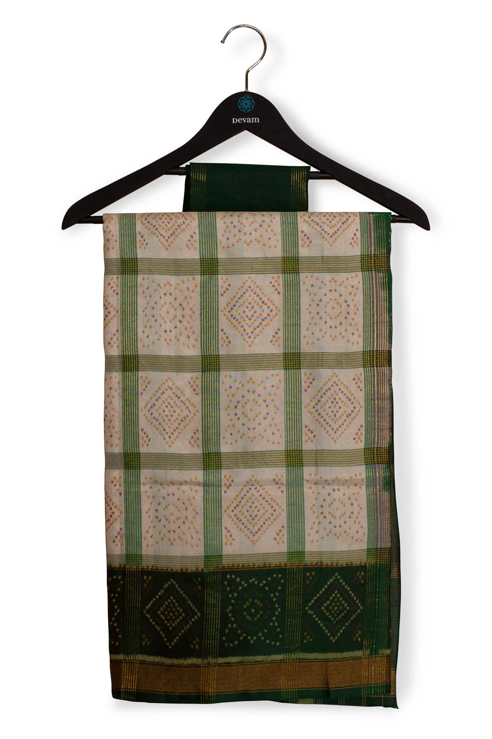 Green And Beige Checkered Silk Patola With Jari