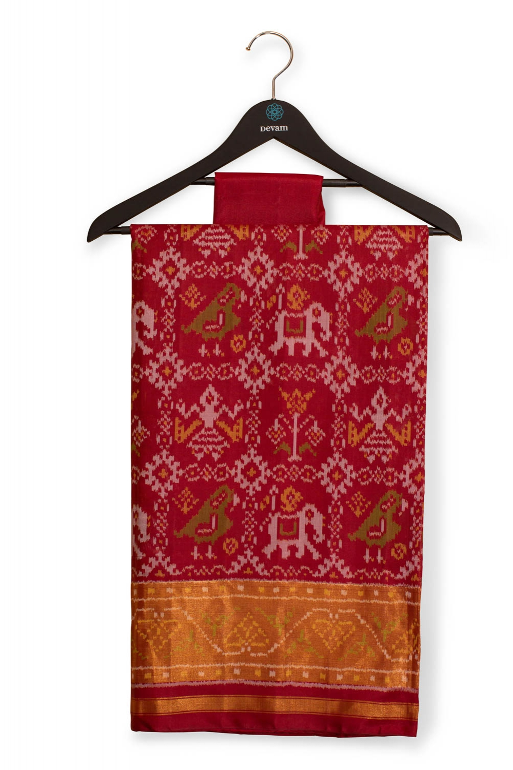 Red Nari Kunjar Silk Patola With Medallion Pallu