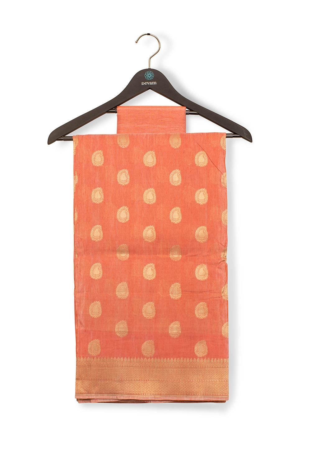 Peach Dupion Silk Banarasi Saree With Golden Bhuttis