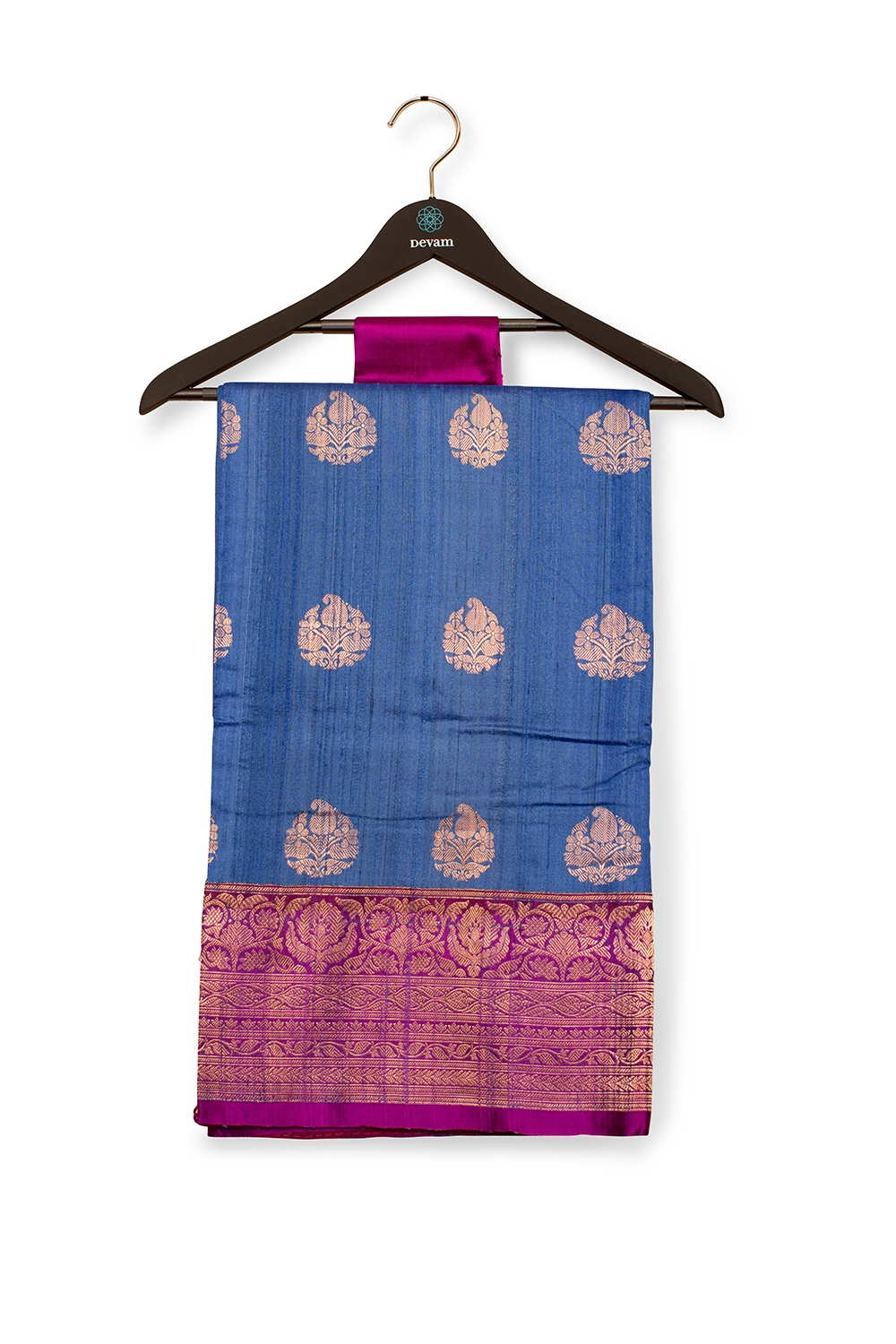 Regal Blue And Magenta Dupion Silk Banarasi Saree